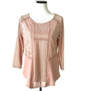 Lucky Brand Mixed Lace Embroidered Top #1490